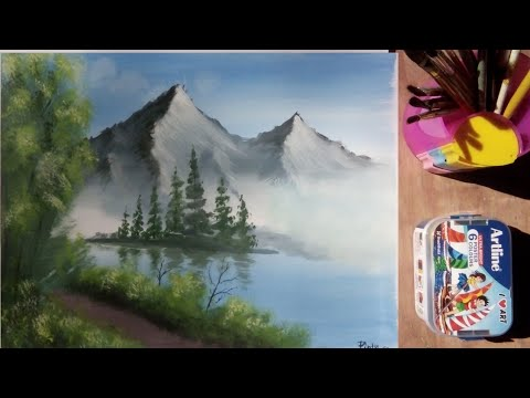 how to paint a simple landscape with poster colour