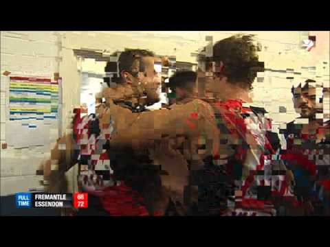 Essendon singing song with James Hird