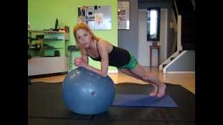 5 minute Butt and Core workout video. Free Online routine with a Stability Ball