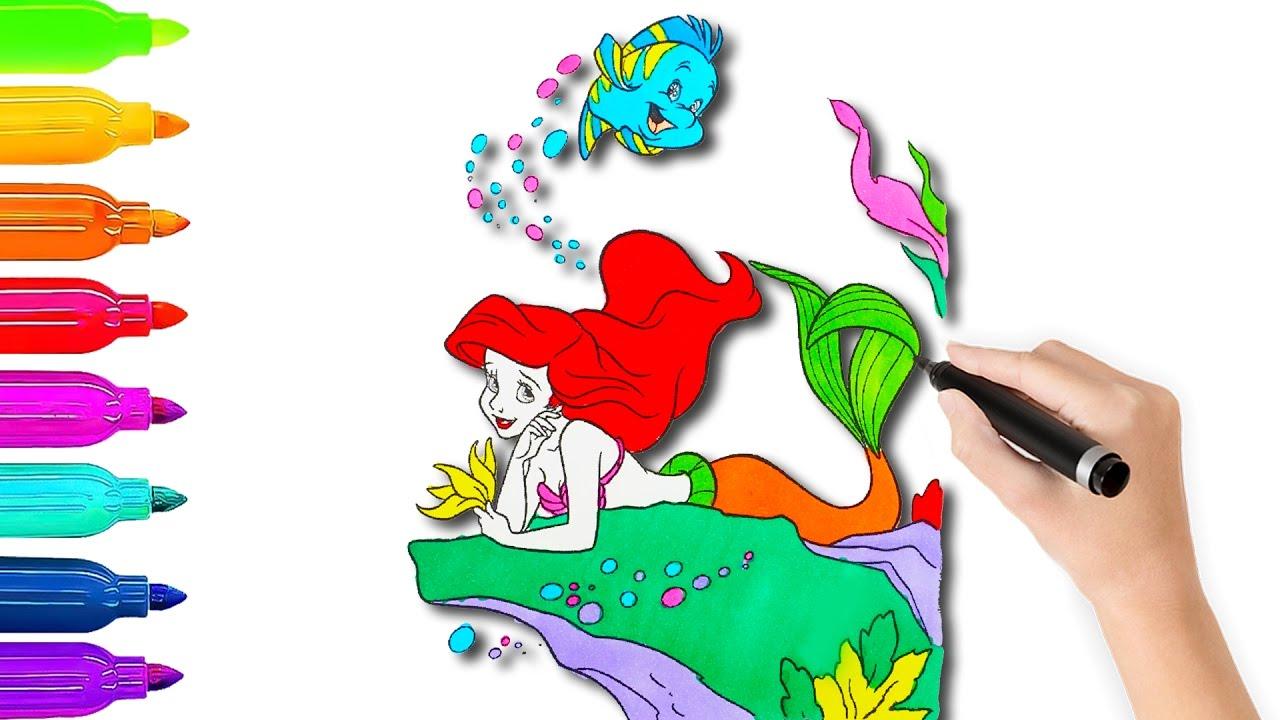 Coloring Book Videos For Children Ariel Disney Princess Coloring