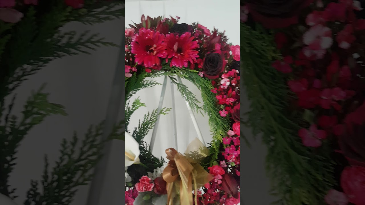 Red White And Gold Funeral Flower Arrangements Youtube