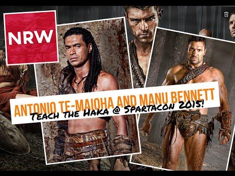 Antonio Te Maioha & Manu Bennett Haka @RebelsSpartacon NRW Spartacus Barca Crixus @manubennett