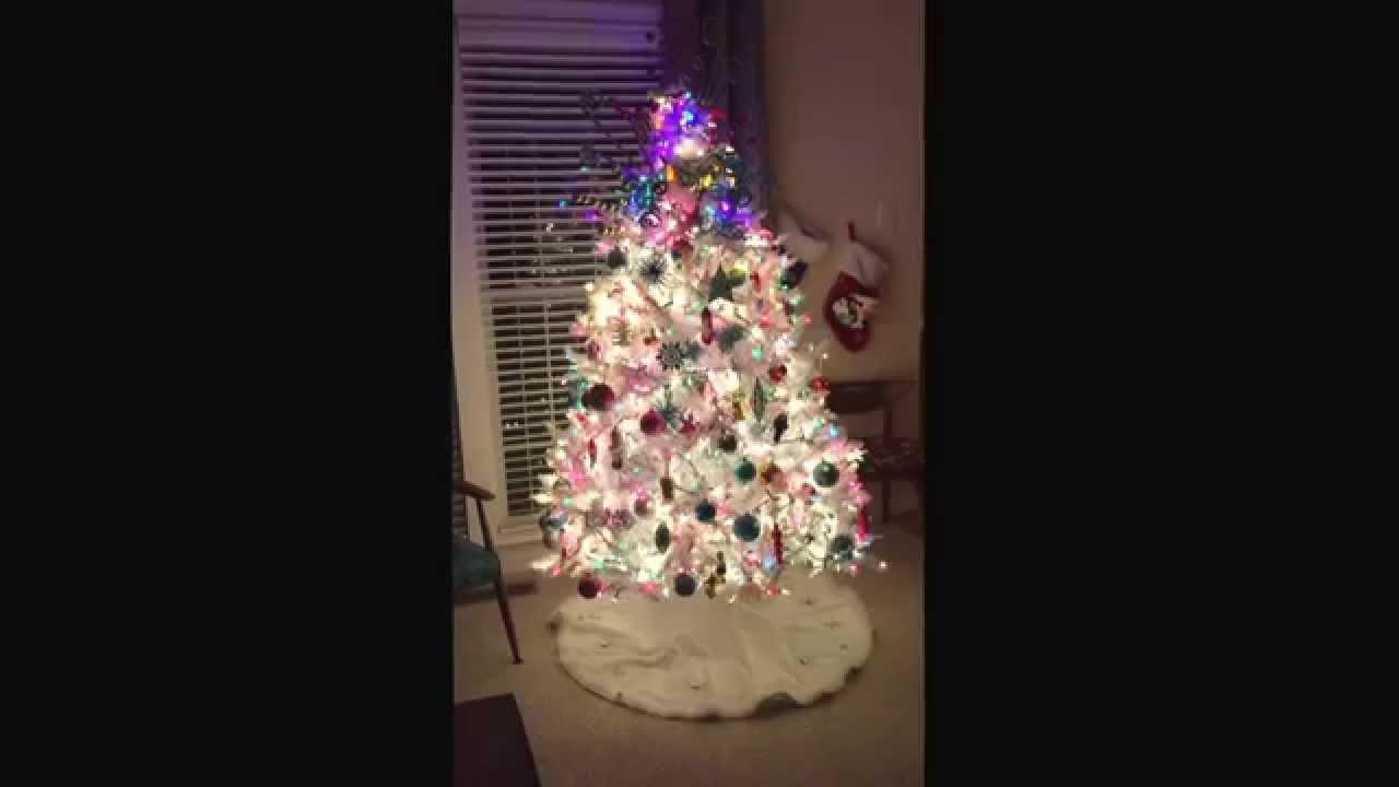white christmas tree colored lights 2015