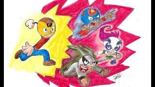 Ricochet, Buena Niña Y la Pulga (Mucha lucha) Speed drawing   Víctor González