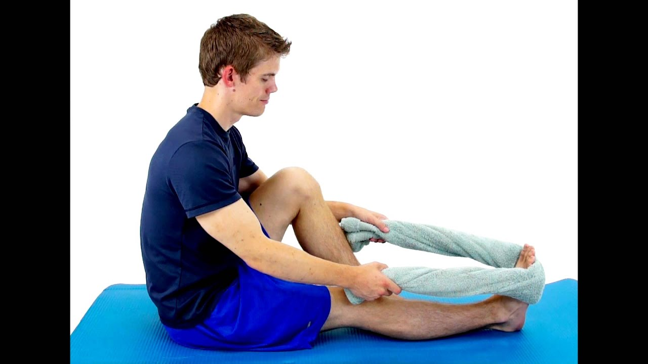 CALF STRETCH WITH TOWEL -hep2go - YouTube