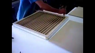 Old low quality video of gluing up a fastener free vacuum press torsion box. The white frame is temporary, it aligns/clamps all the