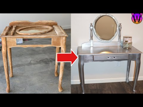 HOW TO: DIY GLAM VANITY | (Furniture Makeover)
