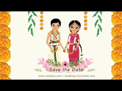 Tamil Brahmin South Indian Animated Wedding Video Invitation Whatsapp Friendly Youtube