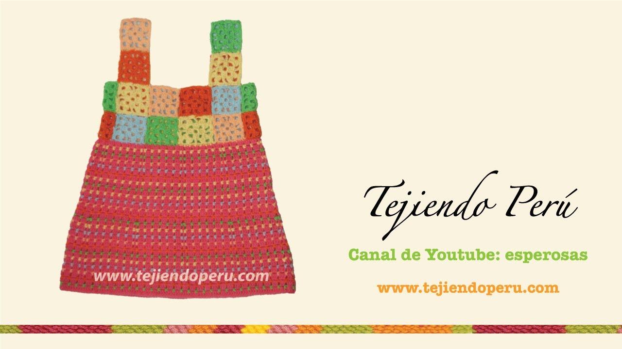 Vestido para niñas de 4 a 6 años tejido en crochet - YouTube