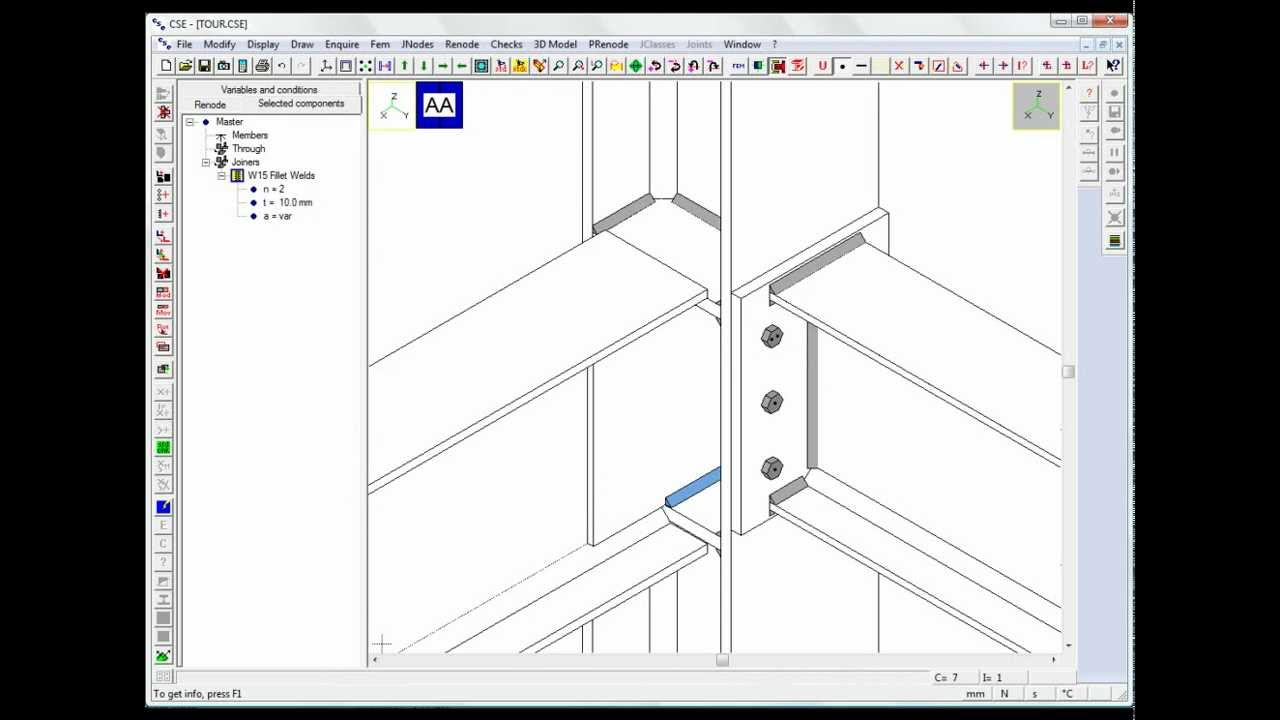 Steel connections software CSE: Tour Flanged beam-column
