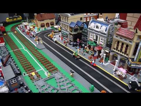 Brickville Town Harbour – Scalextric Based Slot cars, Lego City Display, MKMRS Exhibition, Feb 2014