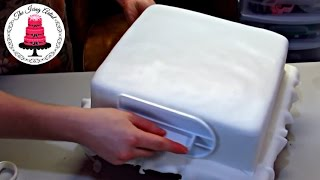 How To Cover A Square Cake In Fondant - With The Icing Artist