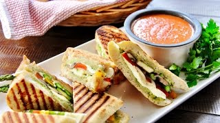 Fire-Roasted Tomato Soup and Grilled Veggie Panini