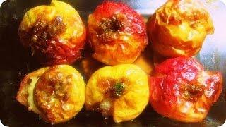 Запеченые яблоки с цукатами и вареньем из лепестков роз