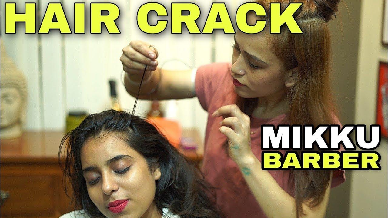 HAIR-CRACKING Head masaage, Neck, palm, back massage by MIKKU BARBER 💈 LADY INDIAN BARBER 💈ASMR