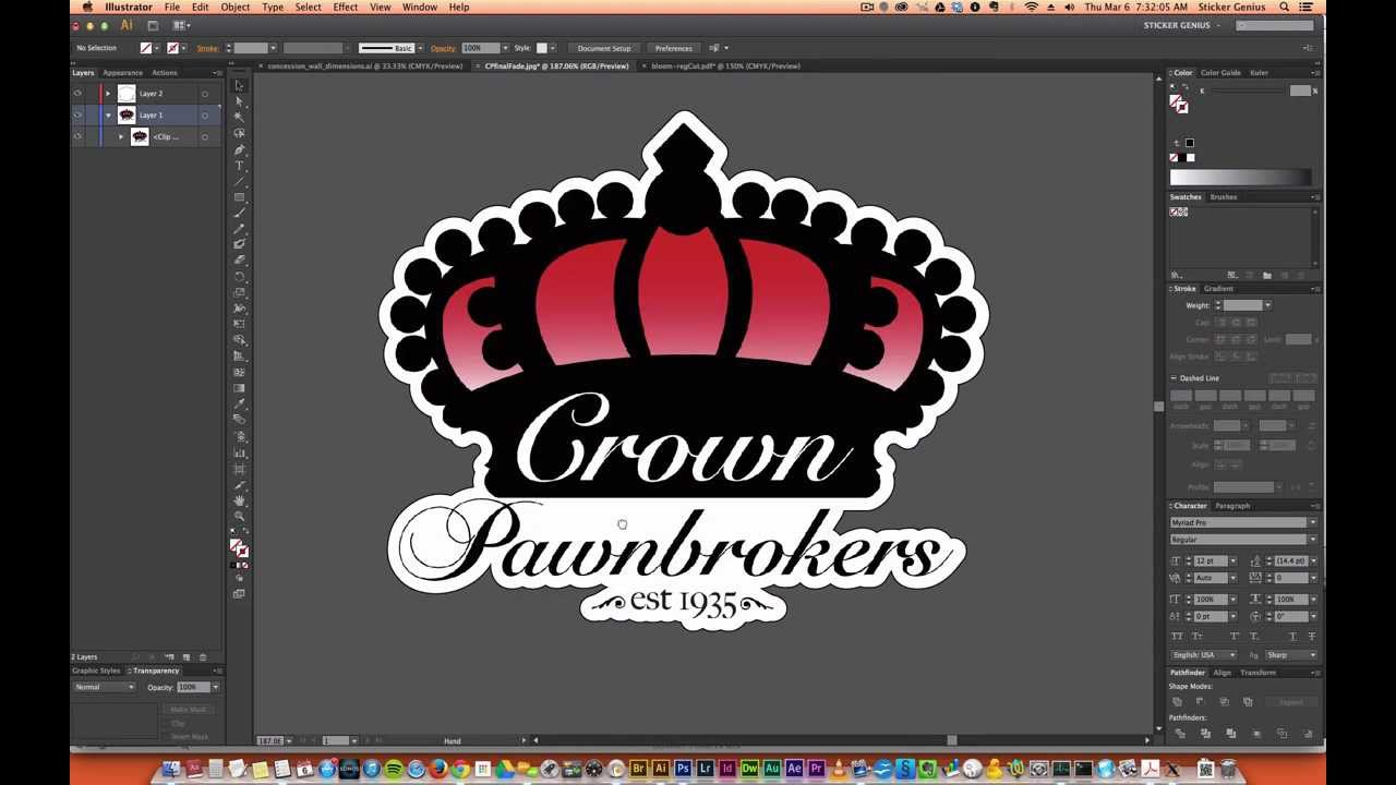 How To Create Custom Sticker Cut Line In Illustrator Youtube