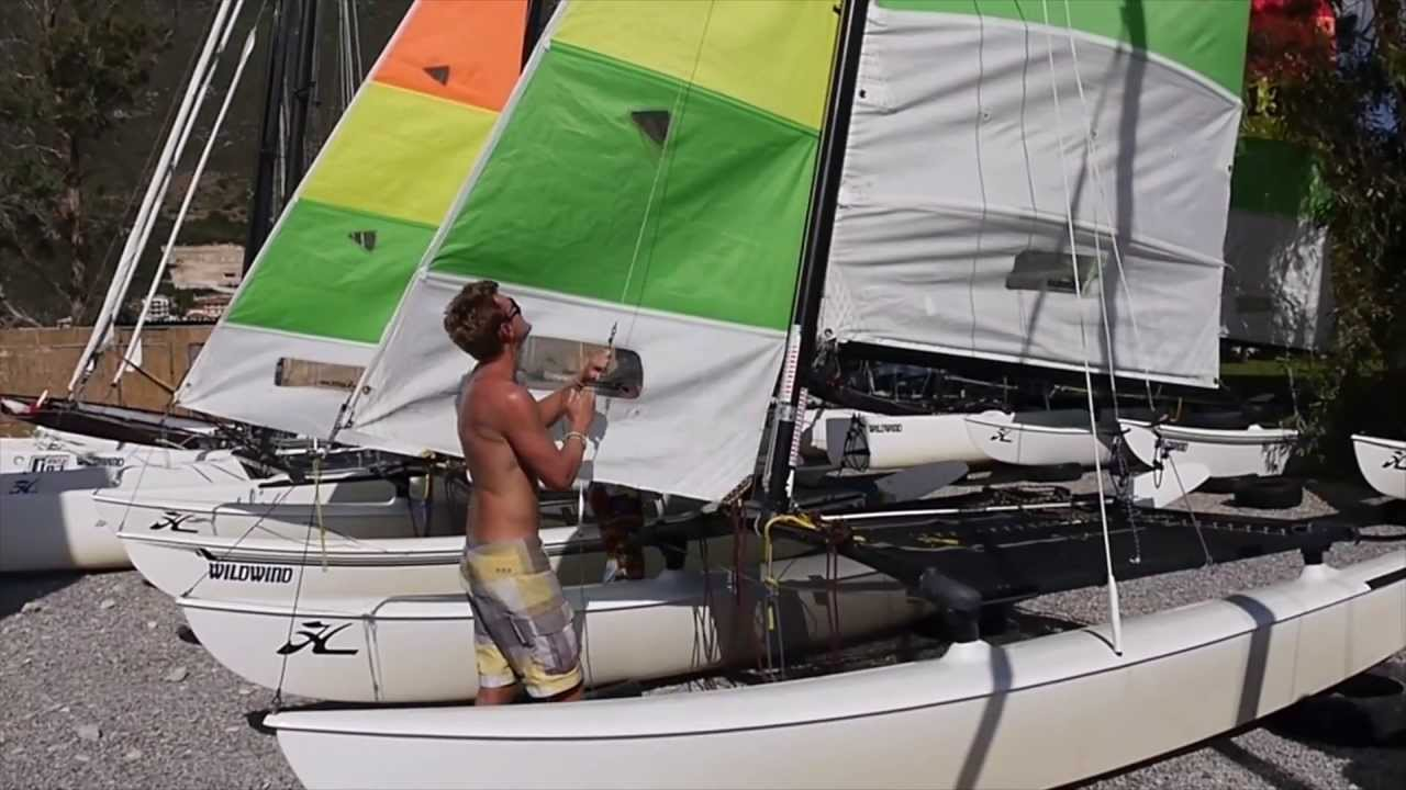 How to rig the Hobie 16  YouTube