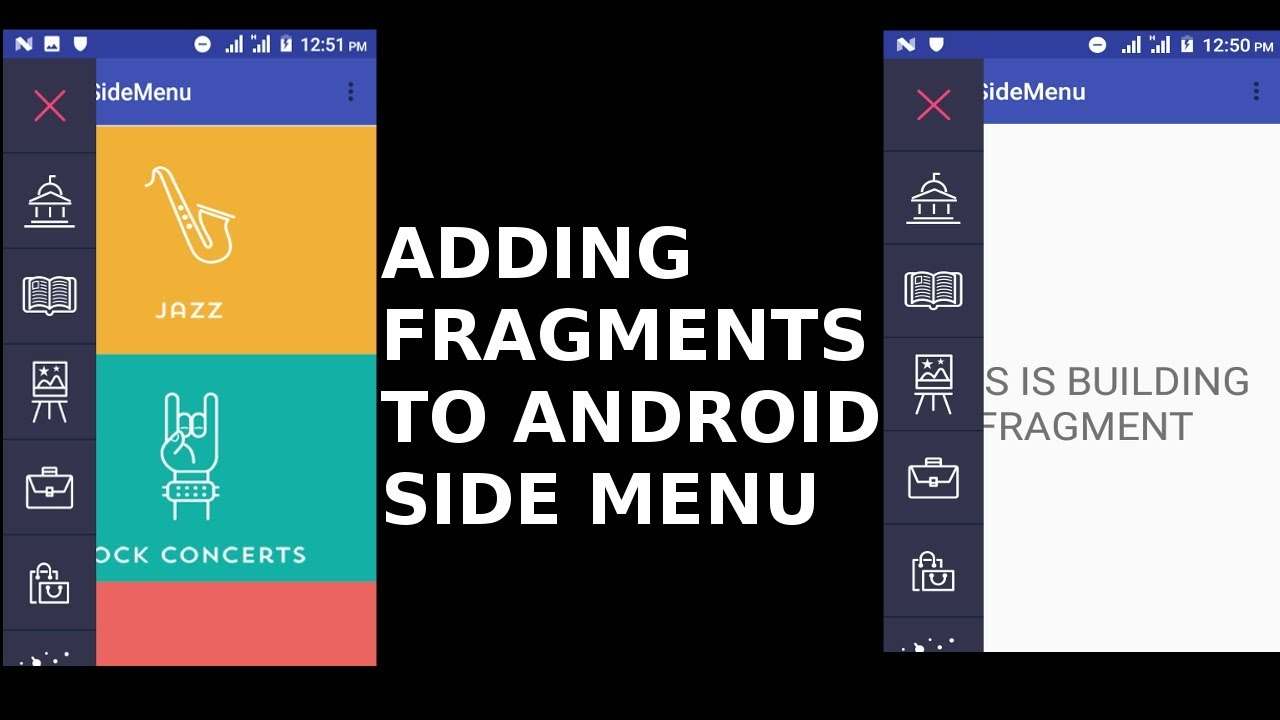 ADDING FRAGMENTS TO ANDROID SIDE MENU