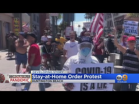 Huntington Beach Protesters Demand End To COVID Shutdown