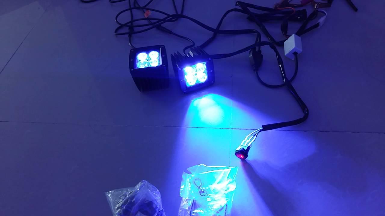 blue + white strobe LED pods & blue + white strobe LED pods - YouTube