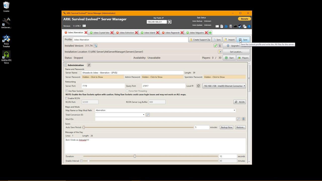 Ark Server Manager Crossplay Steam e Epic Games