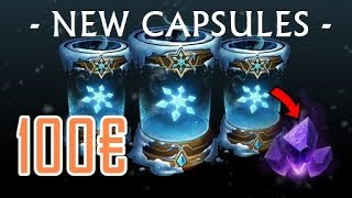 100€ SNOWDOWN CAPSULE OPENING!! AWESOME CAPSULES! +50% GEMSTONES!! GOOD SKINS! League of Legends