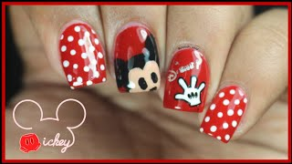 Mickey Mouse Nail Art | #ColorSeriesNailArt with Red