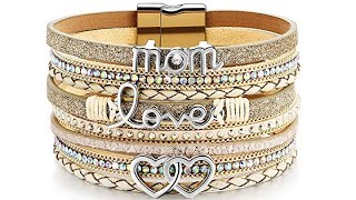 DESIMTION Wrap Boho Multilayer Leather Wide Cuff Handmade Wristbands Wrist Braided Magnetic Buckle