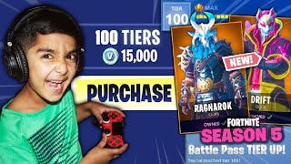 SURPRISING MY 5 YEAR OLD LITTLE BROTHER WITH THE *NEW* FORTNITE SEASON 5 BATTLE PASS! (LEAKED SKINS)