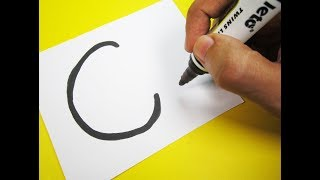 how to turn letter c into a cartoon cat fun with alphabets drawing for kids