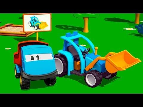 Мультик - раскраска. Учим цвета: Грузовичок Лева и Трактор на детской площадке