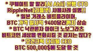 쿠웨이트 알 알리 은행 CTO 리플넷(RippleNet) 사용사례 설명!!, 일본 거래소 비트플라이어 BTC일시적 9400달러 상승, 노보그라츠 BTC 세상 바꿀것 같지는 않다