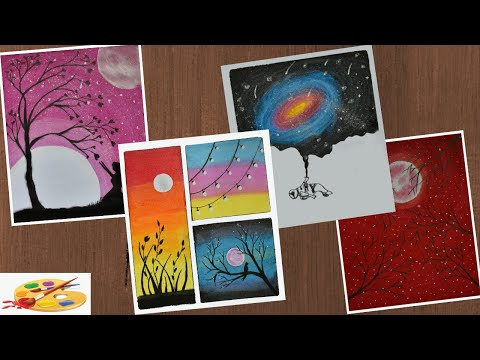 4 Super Easy Painting Tutorials For Beginners – Drawing of Nature – Creative Drawing Ideas