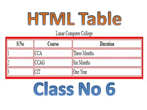 6- Complete HTML Course In Urdu/Hindi (Table In HTML) - Lunar Computer College