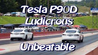 Tesla P90D Ludicrous Unbeatable at Drag Strip vs Hellcat, GTR and more!