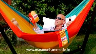 Parachute Silk Travel/camping Hammock In Foldable Stand.