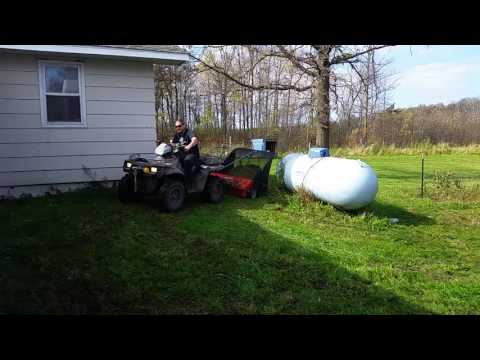 Sweeping The Lawn With The Agri Fab Atv Lawn Sweeper