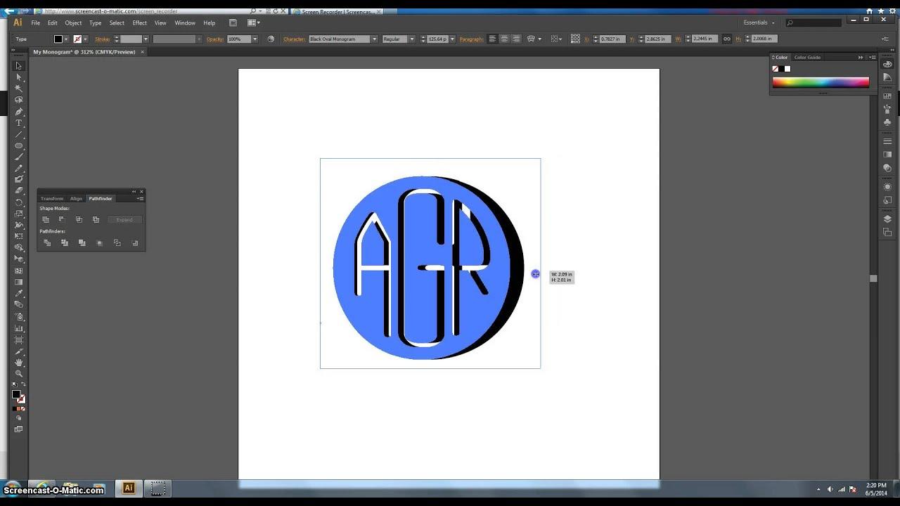 Create a Circle Monogram using Adobe Illustrator - YouTube