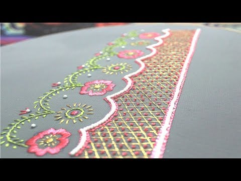 Easy hand embroidery design,Artistic border line embroidery,Border line tutorial,हाथ का काम, শাড়ী