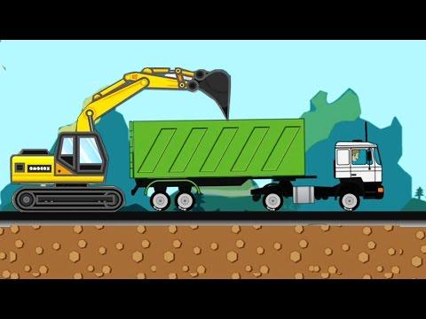 แมคโครตักดินบังคับ แม็คโครตักดิน รถดั้ม รถบรรทุก รถ 10ล้อ Excavator Kids Cartoon Game