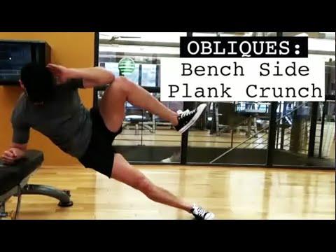 Oblique Bench Side Plank Crunch