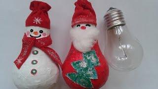DIY:НОВОГОДНИЕ ИГРУШКИ своими руками/SNOWMEN from LIGHT BULBS