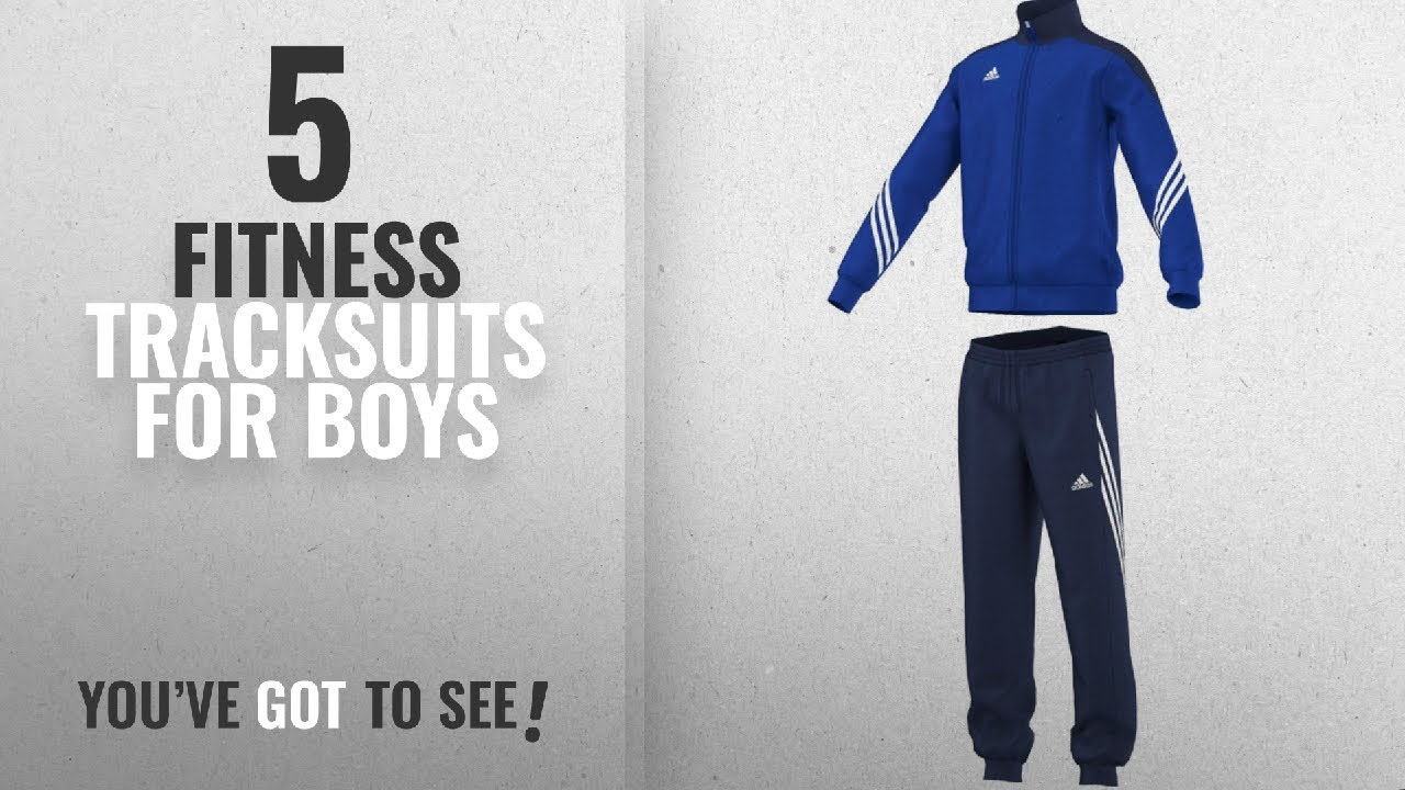 Top 10 Fitness Tracksuits For Boys [2018]: Adidas Boys Sereno 14 Tracksuit  - Cobalt/New Navy/White,