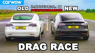 New Tesla Model 3 v Old Model 3 - DRAG RACE