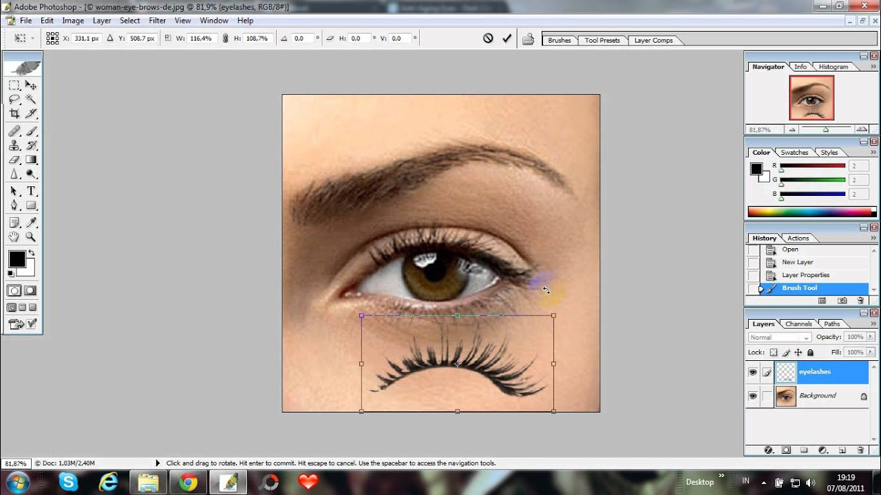 How to apply false eyelashes in photoshop. HD - YouTube