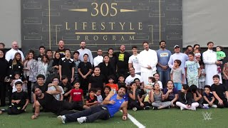 Tucker Knight and Dan Matha share fitness tips with kids at 305 Lifestyle in Saudi Arabia