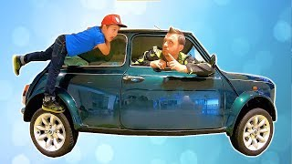 Ride on Mini Cooper with Papa Around the World at Children's Museum | Pretend Play with Cars
