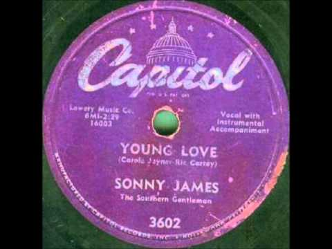 Sonny James - Young Love on 1956 Capitol 78 rpm record.