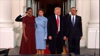 Barack et Michelle Obama ont accueilli vendredi matin Donald et Mel...