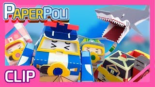 Run away! The scary Shark is coming! | Paper POLI [PETOZ] | Robocar Poli Special